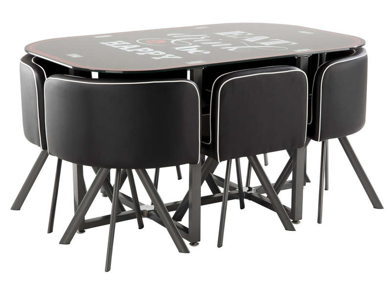 ensemble table 6 chaises kooc coloris noir chez conforama. Black Bedroom Furniture Sets. Home Design Ideas