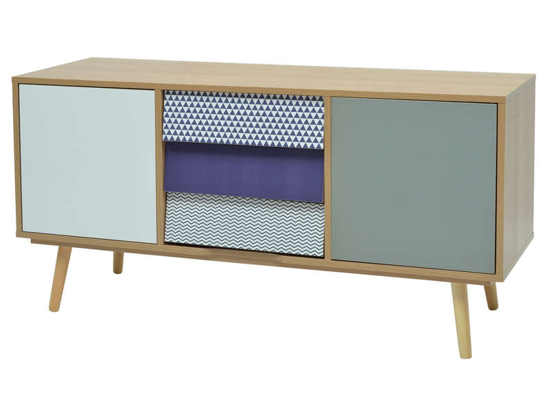 meuble tv anaelle coloris bois et bleu vente de meuble tv conforama. Black Bedroom Furniture Sets. Home Design Ideas