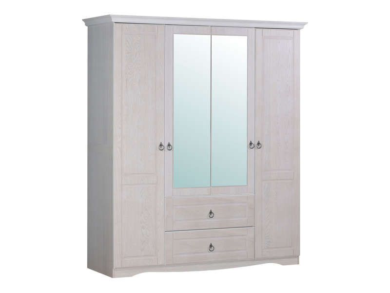 armoire 4 portes 2 tiroirs bianca chez conforama. Black Bedroom Furniture Sets. Home Design Ideas