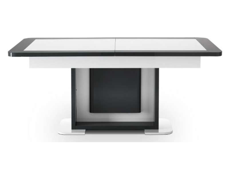 Table Avec Allonge L Max 220 Cm Lorenzo Coloris Blanc Gris