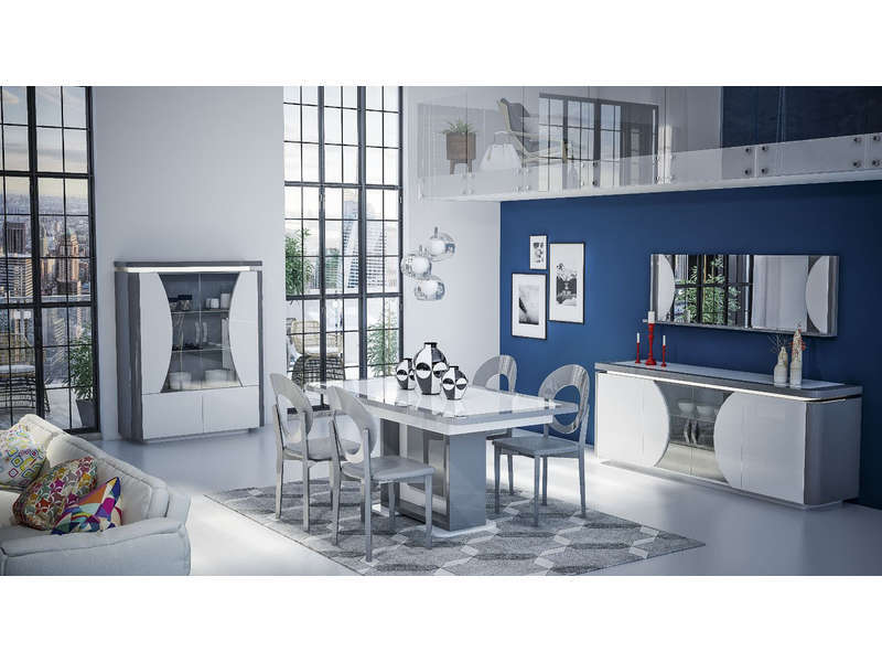 table avec allonge 220 cm lorenzo coloris blanc gris vente de table conforama