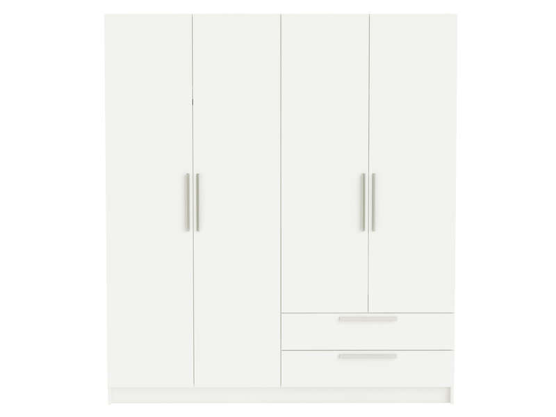 armoire 4 portes glory coloris blanc vente de armoire. Black Bedroom Furniture Sets. Home Design Ideas