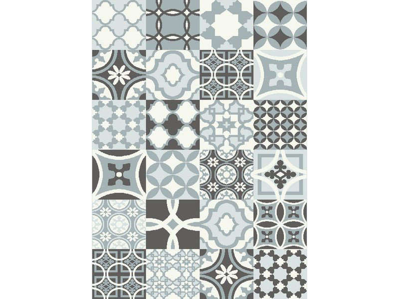 tapis effet carreaux de ciment 200x290 cm carodesim coloris bleu vente de tapis moyenne et. Black Bedroom Furniture Sets. Home Design Ideas