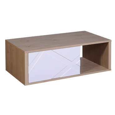 Table basse rectangulaire 1 tiroir GRAPHIK coloris blanc