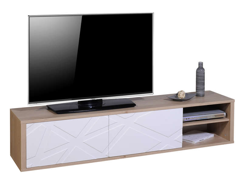 meuble tv 180 cm graphik coloris ch ne blanc vente de. Black Bedroom Furniture Sets. Home Design Ideas