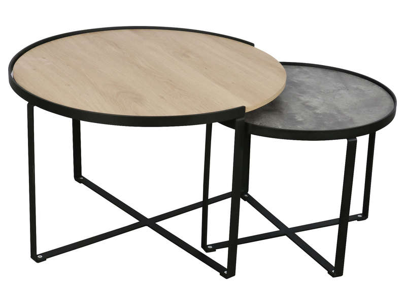 table gigogne x2 opale vente de table basse conforama. Black Bedroom Furniture Sets. Home Design Ideas