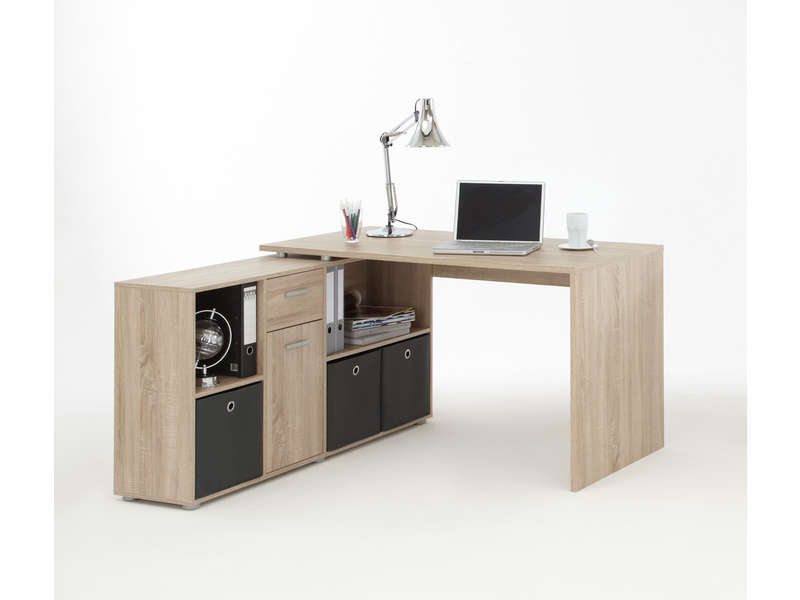 bureau avec retour jorgen coloris ch ne sable vente de bureau conforama. Black Bedroom Furniture Sets. Home Design Ideas