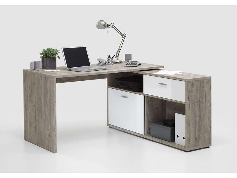 bureau avec retour lars coloris ch ne sable blanc vente de bureau conforama. Black Bedroom Furniture Sets. Home Design Ideas