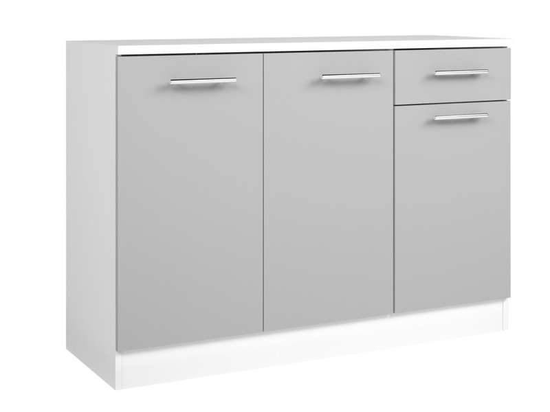 Buffet Bas L120 Cm Center Coloris Blancgris Vente De Buffet De
