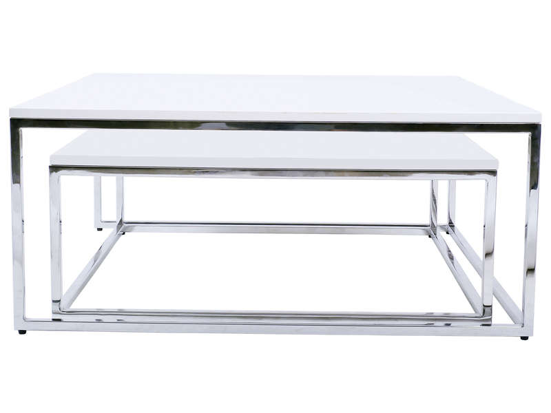 Table Basse Gigogne Ollie Coloris Blanc Vente De Table Basse