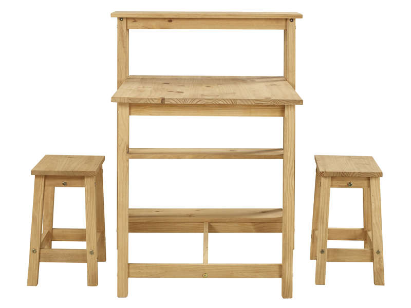 Ensemble Table 2 Tabourets De Cuisine En Pin Massif Sadie