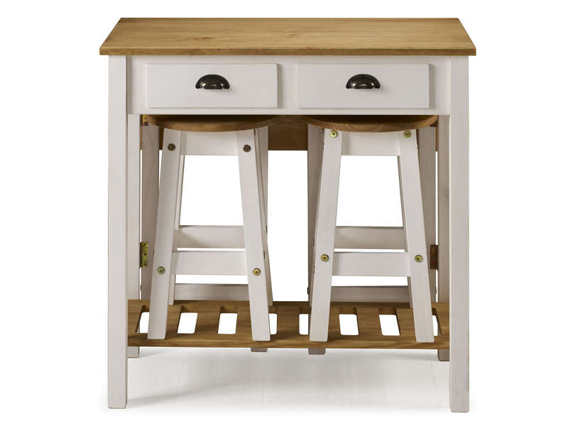 Ensemble Table Pliante 2 Tabourets En Bois Massif Sharona