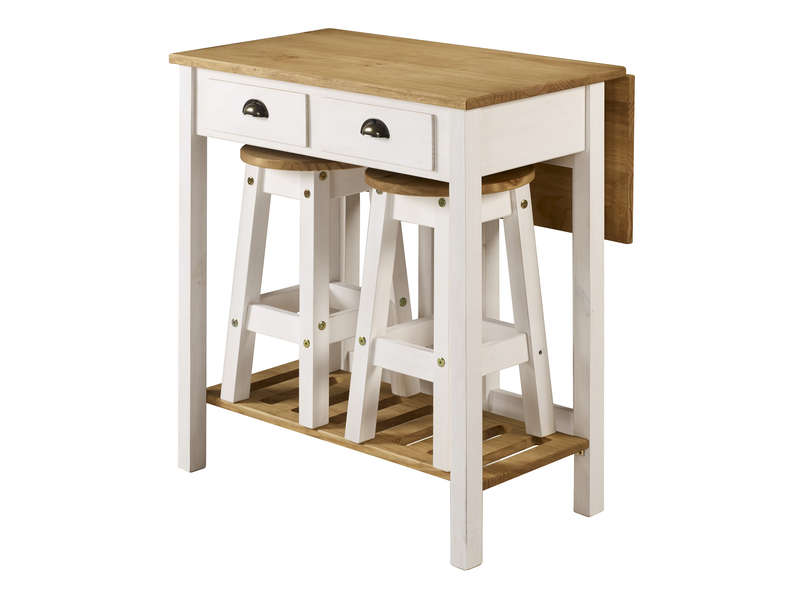 Ensemble table pliante 2 tabourets en bois massif sharona coloris blanc vente de ensemble - Ensemble chaise et table ...