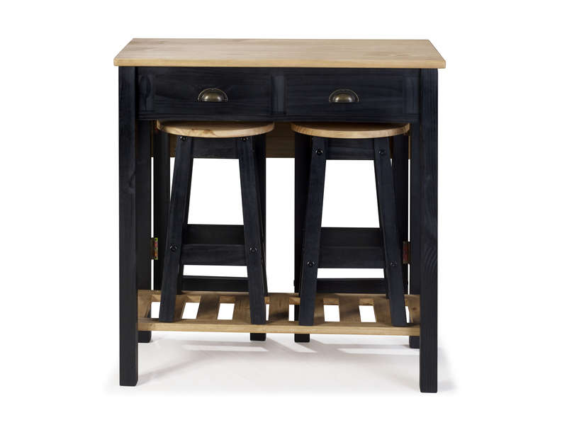Ensemble Table Pliante 2 Tabourets En Bois Massif Sharona Coloris Noir Vente De Ensemble Table Et Chaise Conforama