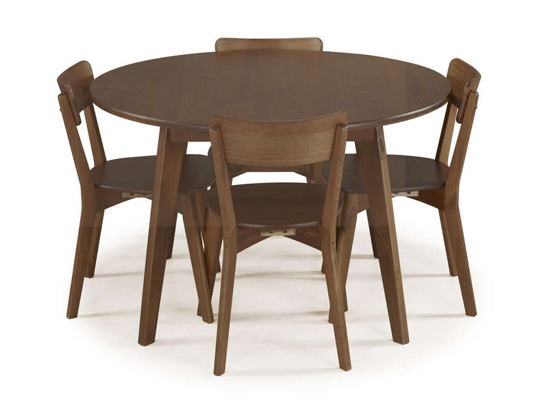 Ensemble table ronde 4 chaises en pin massif mahoe coloris noyer vente de ensemble table et - Ensemble chaise et table ...