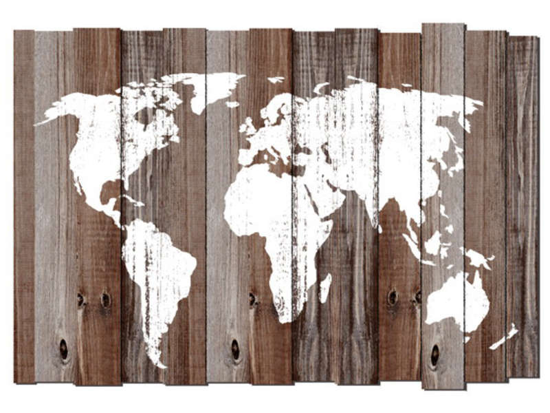 carte du monde imprim e sur bois mappy coloris blanc. Black Bedroom Furniture Sets. Home Design Ideas