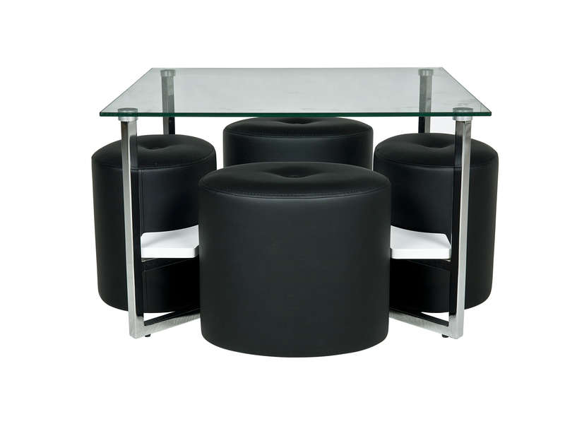 Table Basse Ronde Avec Pouf.Table Basse Carree En Verre 4 Poufs James Vente De Table