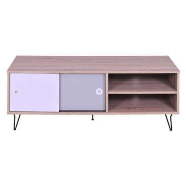 Meuble TV NOA coloris chêne, blanc et gris