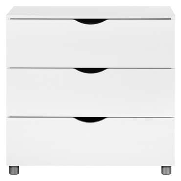 Commode 3 tiroirs LETTY coloris blanc