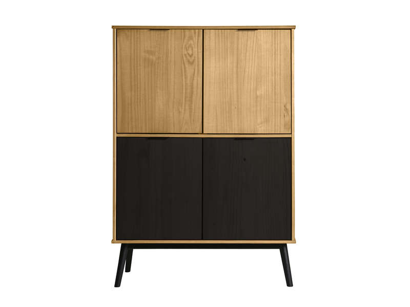 buffet haut 4 portes en pin massif carla coloris bois cir et noir vente de buffet bahut. Black Bedroom Furniture Sets. Home Design Ideas