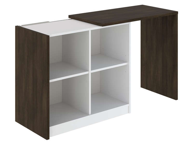 bureau retractable leon coloris blanc noyer vente de bureau conforama. Black Bedroom Furniture Sets. Home Design Ideas