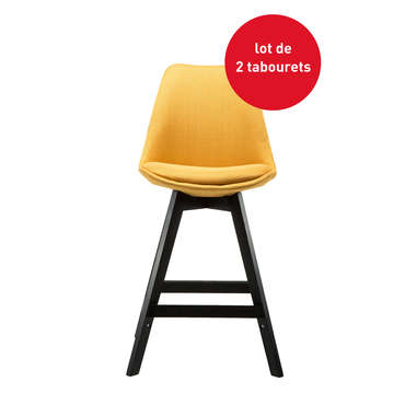 Lot de 2 tabourets de bar YORIC coloris curry