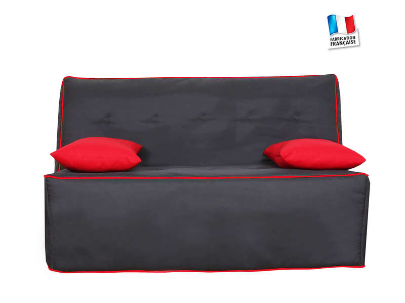 banquette lit bz klint coloris anthracite rouge vente de banquette clic clac conforama. Black Bedroom Furniture Sets. Home Design Ideas