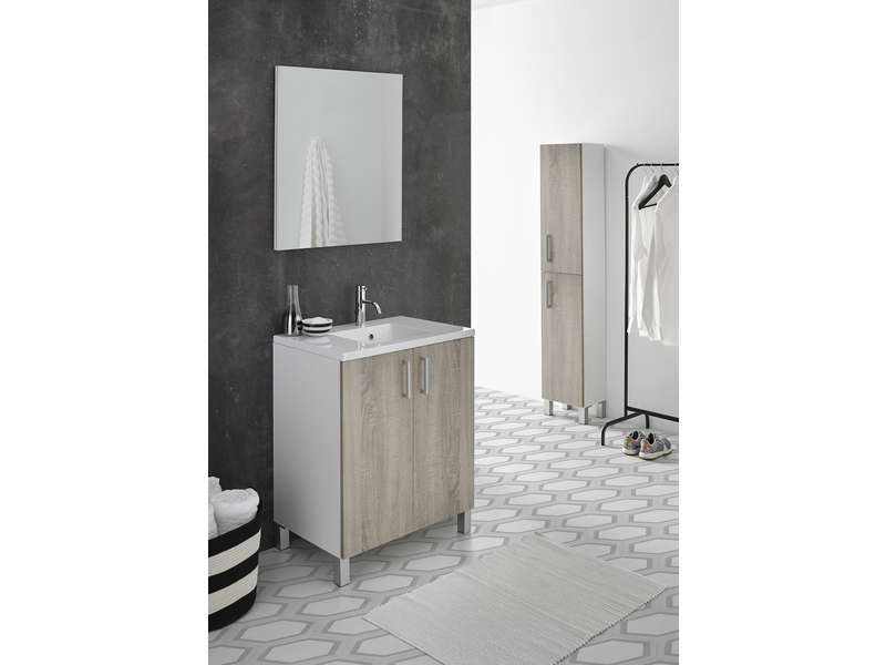 bloc salle de bain cm liba coloris blanc ch ne vente de salle de bain pr tes emporter. Black Bedroom Furniture Sets. Home Design Ideas