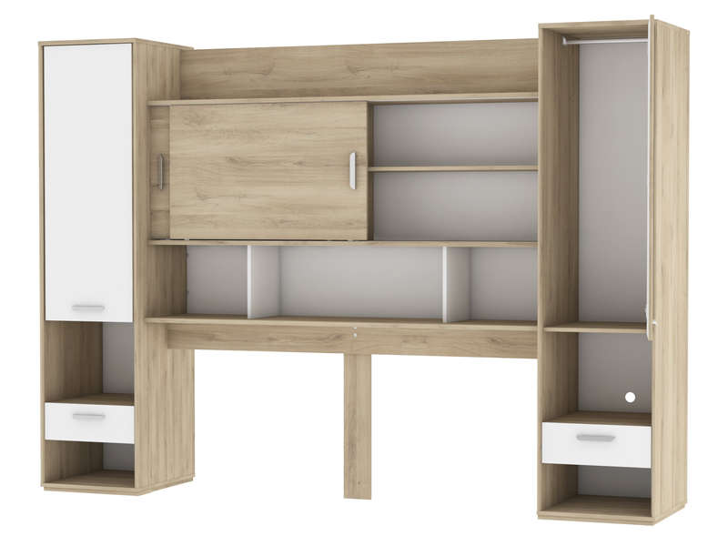 pont de lit aelig coloris ch ne kronberg blanc vente de lit enfant conforama. Black Bedroom Furniture Sets. Home Design Ideas