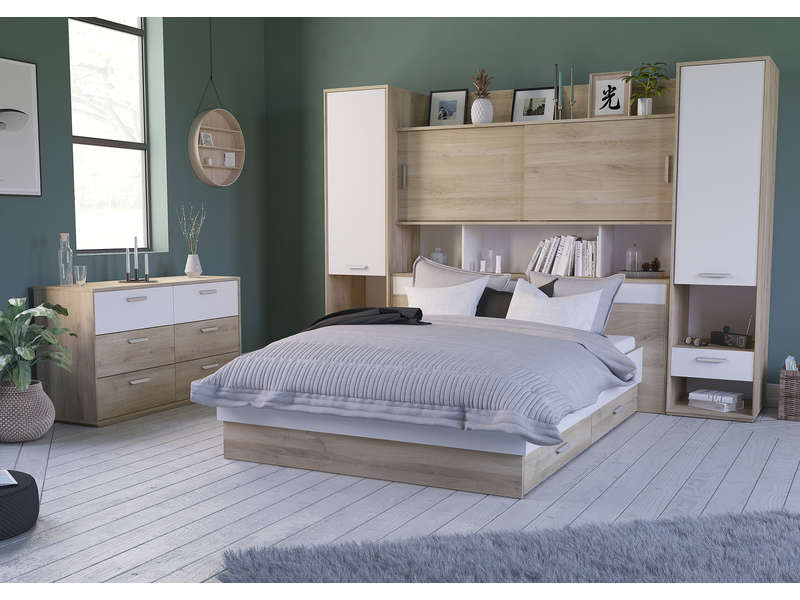 pont de lit aelig coloris ch ne kronberg blanc vente de. Black Bedroom Furniture Sets. Home Design Ideas
