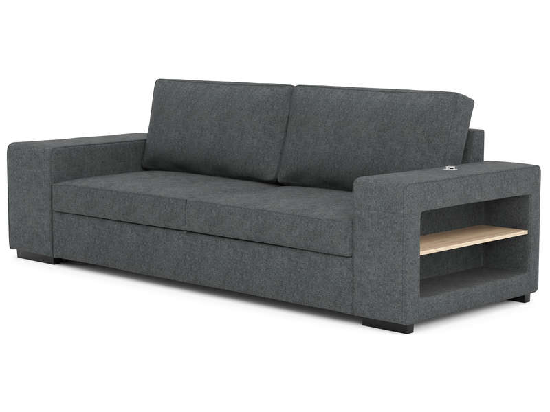 canap droit convertible 3 places 2 poufs karl coloris gris vente de canap droit conforama. Black Bedroom Furniture Sets. Home Design Ideas