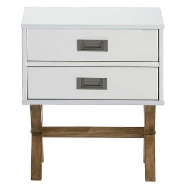 Chevet 2 tiroirs LEIDI coloris blanc/cire