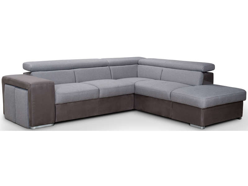 Canape D Angle Convertible 4 Places Cruz Coloris Gris Vente De