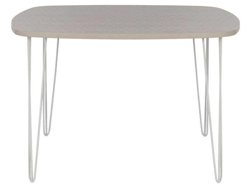 Table carrée 115 cm LEMON coloris blanc