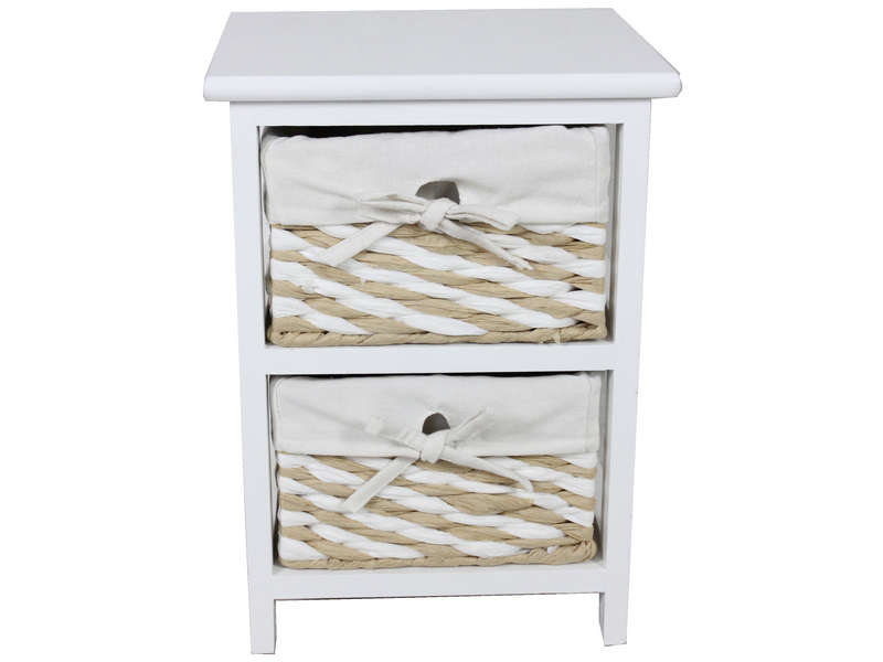 Mini commode 2 tiroirs 40 cm EUGENIE coloris beige