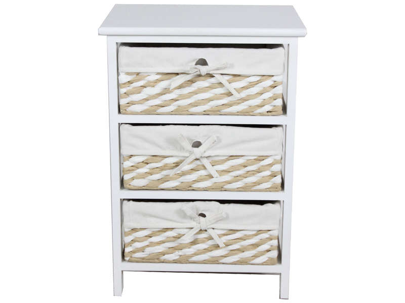 Mini commode 3 tiroirs 58 cm EUGENIE coloris beige