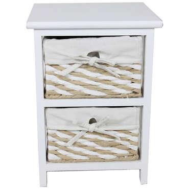 Mini commode 2 tiroirs 40 cm EUGENIE coloris beige
