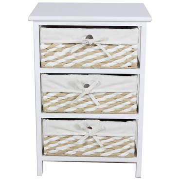Mini commode 3 tiroirs 58 cm EUGENIE coloris beige