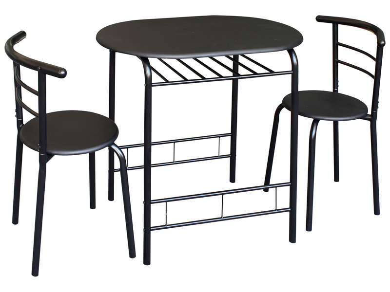 Ensemble table et 2 chaises de cuisine patrick coloris noir vente de ensemble table et chaise - Ensemble chaise et table ...
