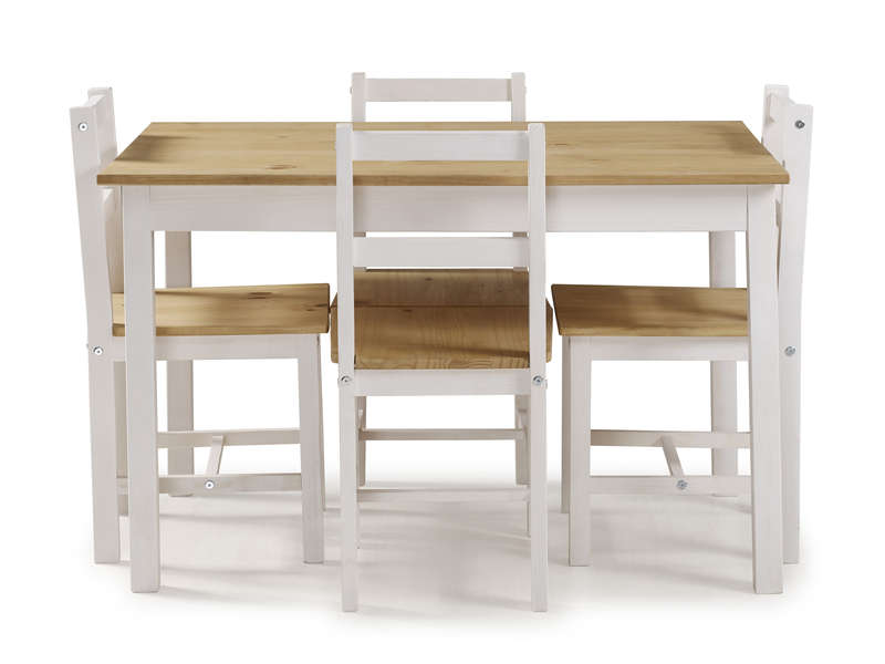 Ensemble table 4 chaises de cuisine en pin massif madrid coloris blanc bois vente de - Ensemble chaise et table ...