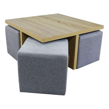 Table basse carrée + 4 poufs SHANON