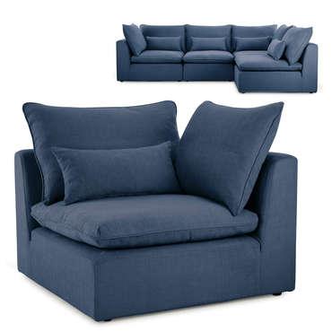 Angle pour canapé modulable en tissu VIANA coloris bleu