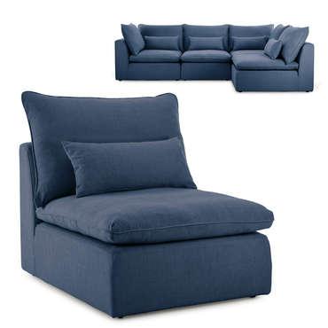 Fauteuil pour canapé modulable en tissu VIANA coloris bleu