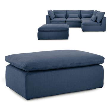 Pouf pour canapé modulable en tissu VIANA coloris bleu