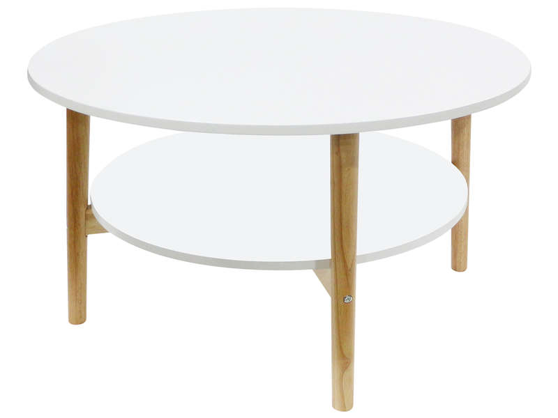 Table Basse Ronde Lupin Coloris Blanc Bois Vente De Table