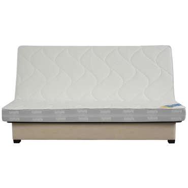 Banquette-lit clic-clac 130 cm matelas latex 65 kg DUNLOPILLO