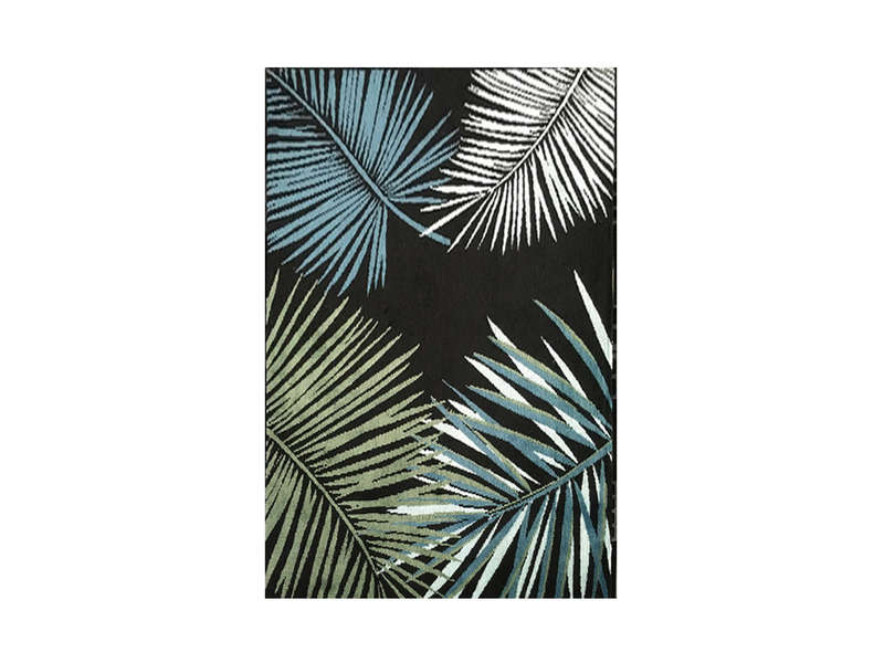Tapis 200x300 Cm Golden Jungle Feuillages Blanc Vert Bleu Vente