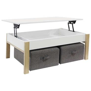 Table basse rectangulaire ZOE coloris blanc/chêne