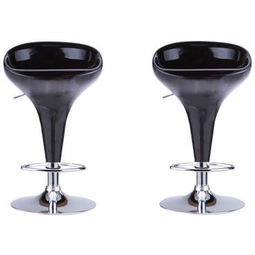 Lot de 2 tabouret de bar WAVE coloris noir
