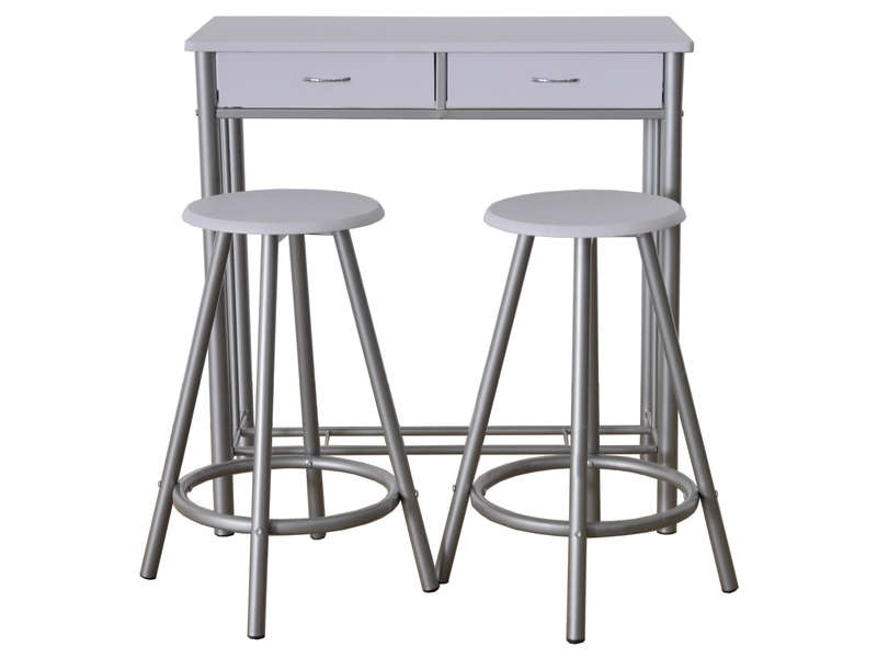 Ensemble table bar et 2 tabourets CATAN coloris gris/blanc